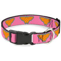 """Buckle-Down Plastic Clip Collar - Wonder Woman Logo Pink/Blue/Yellow/Pink - 1.5"""" Wide - Fits 18-32"""" Neck - Large"""