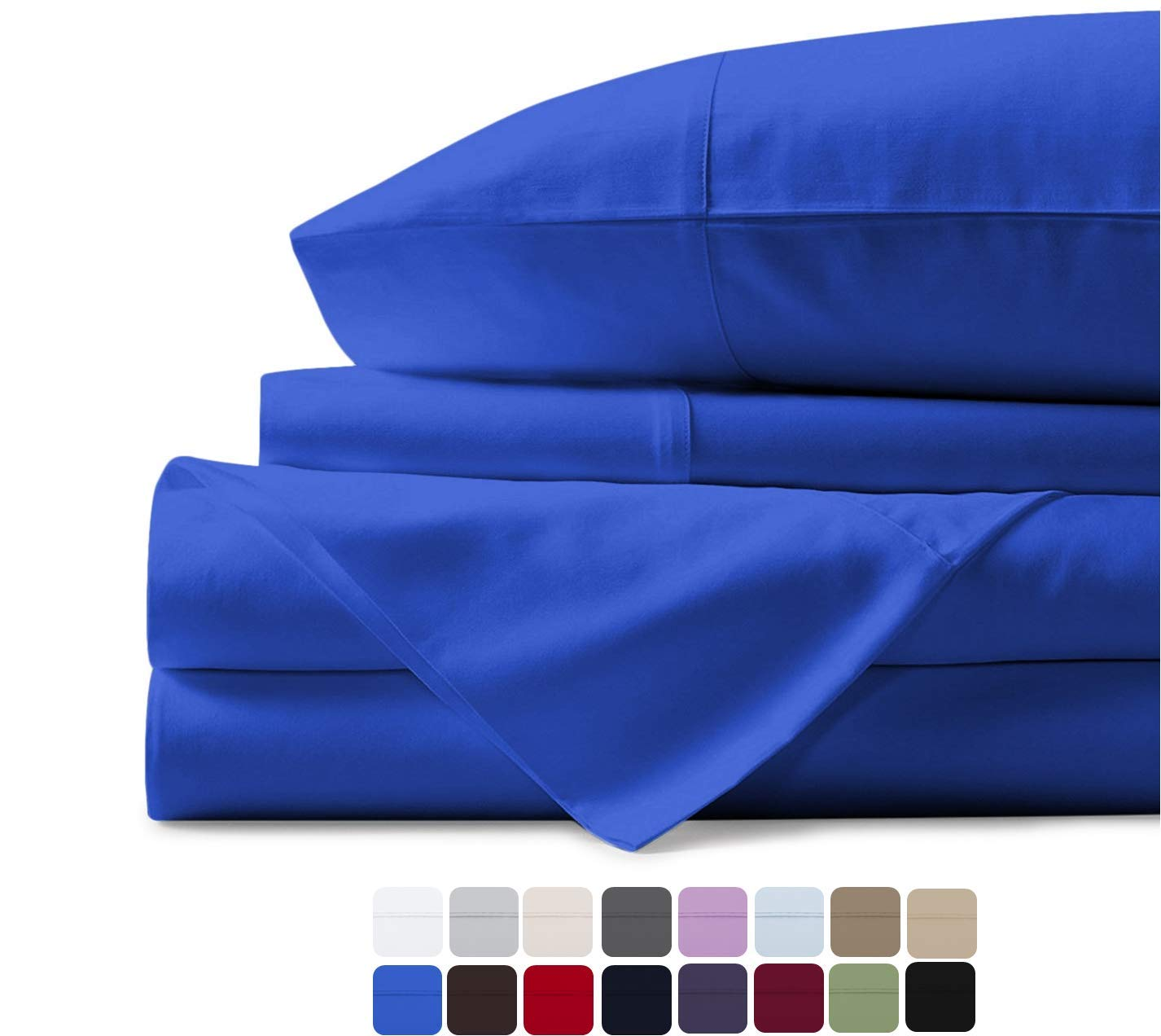 500 Thread Count 100% Cotton Sheet Royal Blue King Sheets Set, 4-Piece Long-staple Combed Pure Cotton Best Sheets For Bed, Breathable, Soft & Silky Sateen Weave Fits Mattress Upto 18'' Deep Pocket