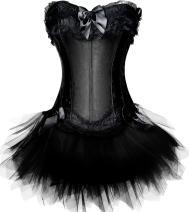 Pandolah Halloween Sexy Lingerie Fashion Lace up Corset Bustier Tutu Petticoat Skirt