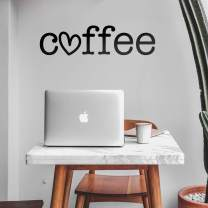 "Vinyl Wall Art Decal - Coffee Heart - 8"" x 30"" - Trendy Modern Cute Design for Home Bedroom Living Room Kitchen Restaurant Coffee Shop Cafe Decoration Sticker"