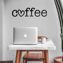 """Vinyl Wall Art Decal - Coffee Heart - 8"""" x 30"""" - Trendy Modern Cute Design for Home Bedroom Living Room Kitchen Restaurant Coffee Shop Cafe Decoration Sticker"""