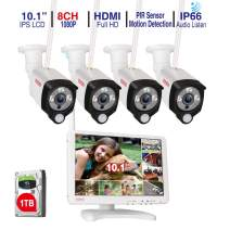 """[Audio Recording] Tonton All-in-One Full HD 1080P Security Camera System Wireless with 10.1"""" IPS Monitor,8CH WiFi NVR,1TB HDD and 4PCS 2.0 MP Outdoor Bullet IP Cameras with PIR Sensor,Plug and Play"""