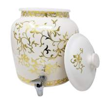 Premium Lead-Free Porcelain Beverage Dispenser With Matching Lid - 2.5 Gallons - With Crock Ring Protector, No-Drip Chrome Painted BPA-Free Plastic Spigot Faucet and Lid - Antique Gold Floral Pattern