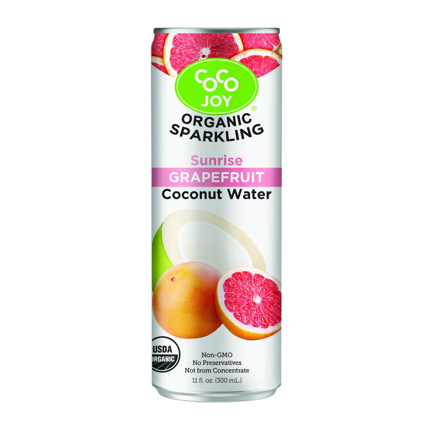 100% Organic Premium Sparkling Coco Joy Coconut Water 11 Fl oz Can - Sunrise Grapefruit - 12 Pack - Refreshing, Non-GMO, Packed with Electrolytes, No Preservatives