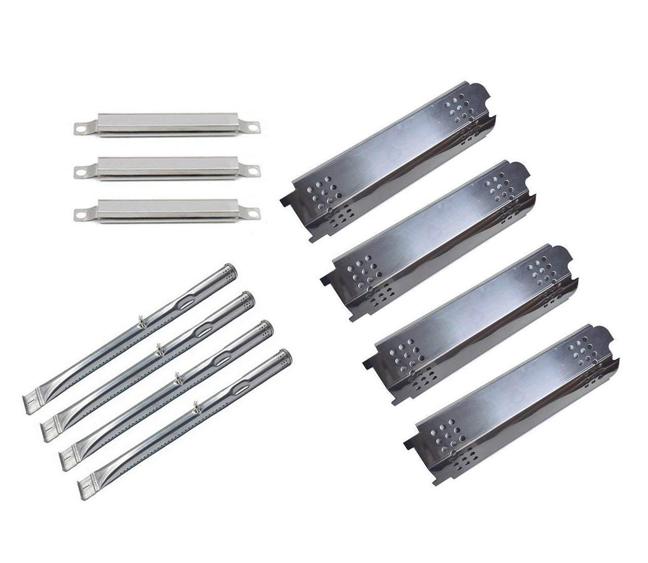 Wondjiont BBQ 4Pack Grill Burners,4Pack Heat Plate and 3Pack Crossver Tube Replacement Parts for Charbroil 463436215 463436213,Thermos 466360113 Gas Gril