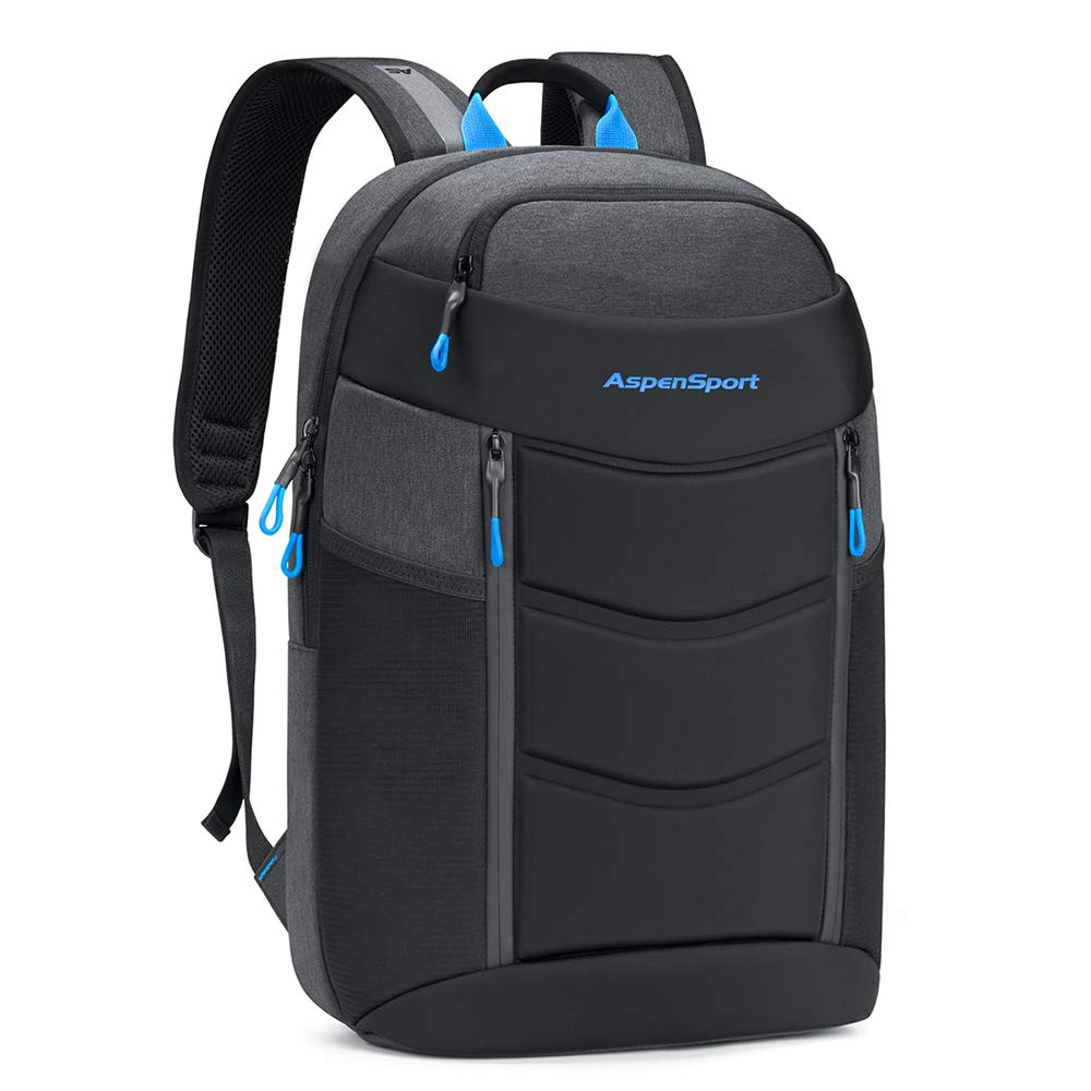ASPENSPORT Lightweight Laptop Backpack TSA-Friendly Slim Stylish Travel College School Computer Bag fit 17 Inch Notebook Water Repellent for Men & Women Dark Grey/Blue