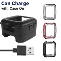 Kartice Compatible with Fitbit Versa Charger with case [1+3 Pack] Charger Docking Station and Fitbit Versa Protective Case Bumper Protector kit
