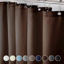 Eforcurtain Water Repellent Fabric Shower Curtains 72 by 78 Inch Long Bath Curtain with Hooks in Chocolate