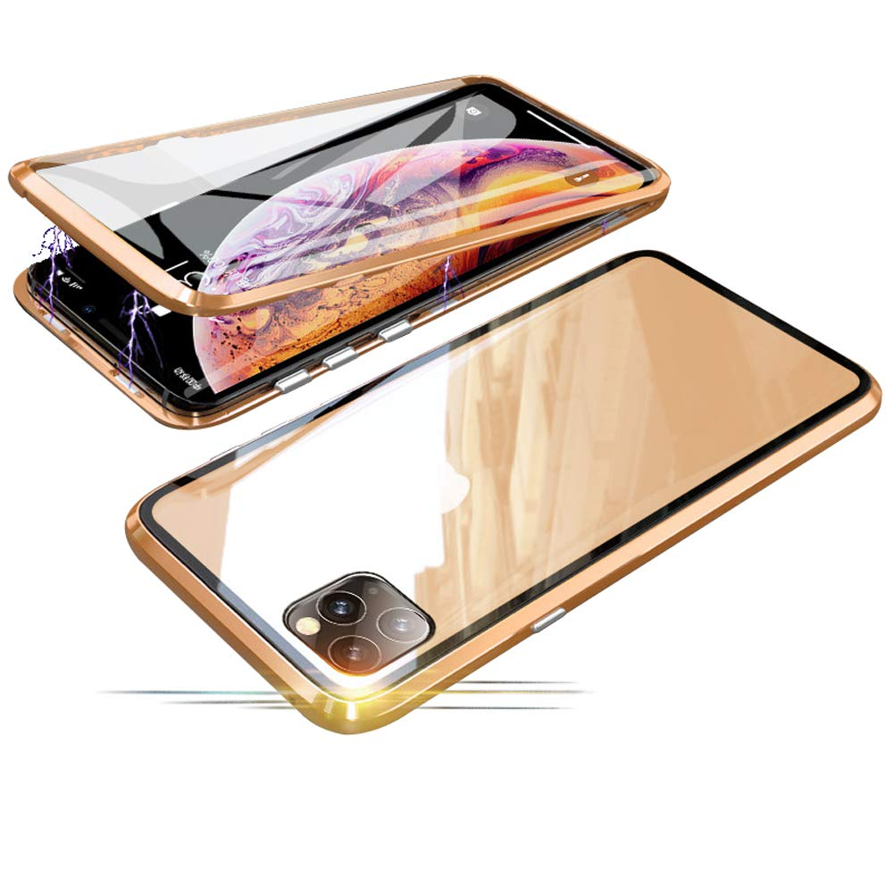 Compatible with iPhone 11 Pro (5.8 inch) Case, Jonwelsy 360 Degree Front and Back Transparent Tempered Glass Cover, Strong Magnetic Adsorption Technology Metal Bumper for iPhone 11 Pro (Gold)