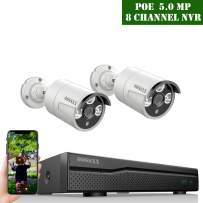 POE Security Camera System,OOSSXX 8CH 5MP POE System,2pcs 5MP Outdoor Wired POE IP67 Waterproof Cameras,NO Hard Drive