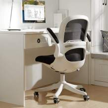 BERLMAN Ergonomic Mid Back Mesh Office Chair with Flip-up Arms and Adjustable Height Desk Chair Anchor Chair Student Chair (White&Black)