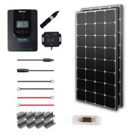 Renogy 200 Watt 12 Volt Off Grid Solar Premium Kit with Eclipse Solar Panel and 20A MPPT Rover Controller/Mounting Z Brackets/MC4 Adaptor Kit/Tray Cables Fuse set /MC4 fuse