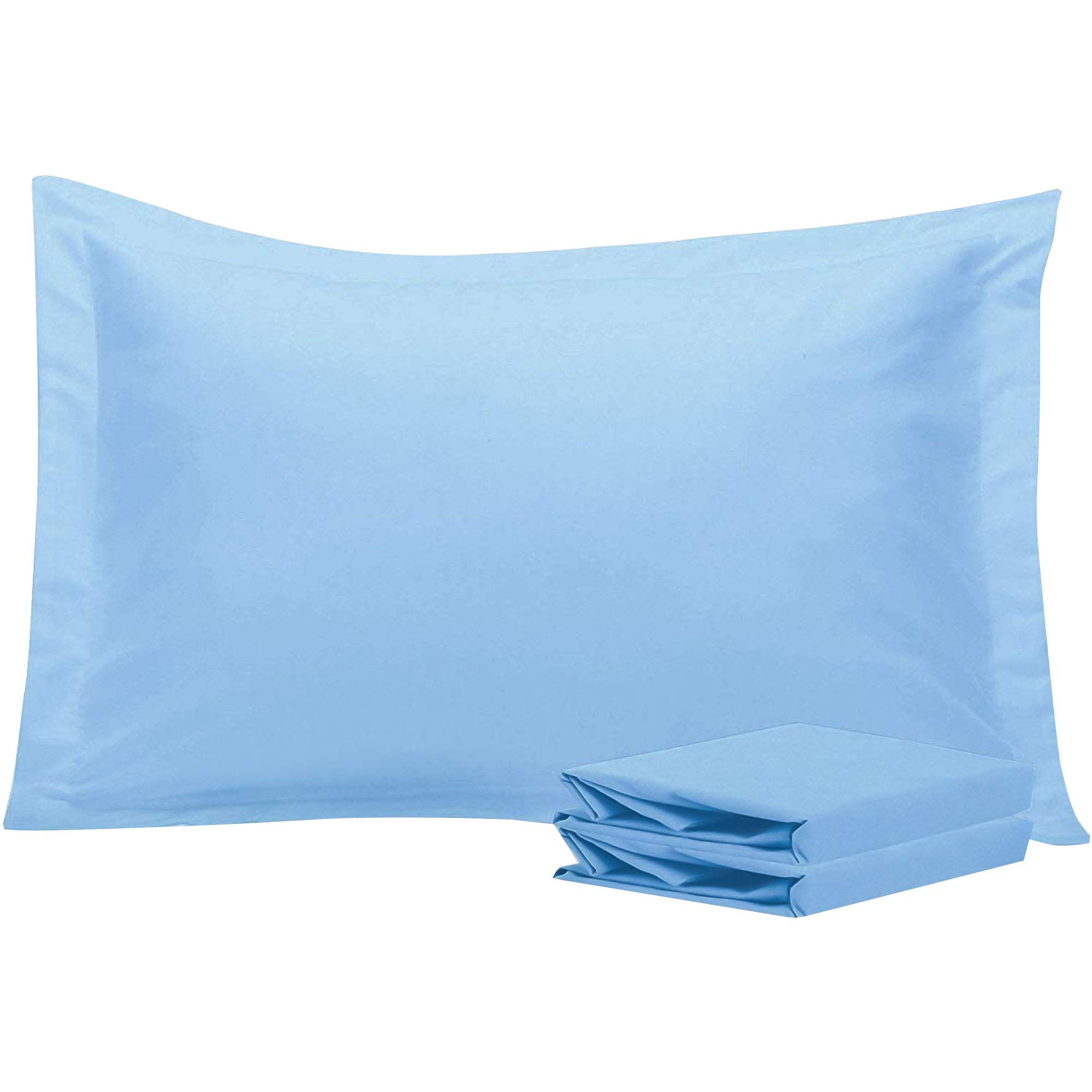 NTBAY Queen Pillow Shams, Set of 2, 100% Brushed Microfiber, Soft and Cozy, Wrinkle, Fade, Stain Resistant (Sky Blue, Queen)