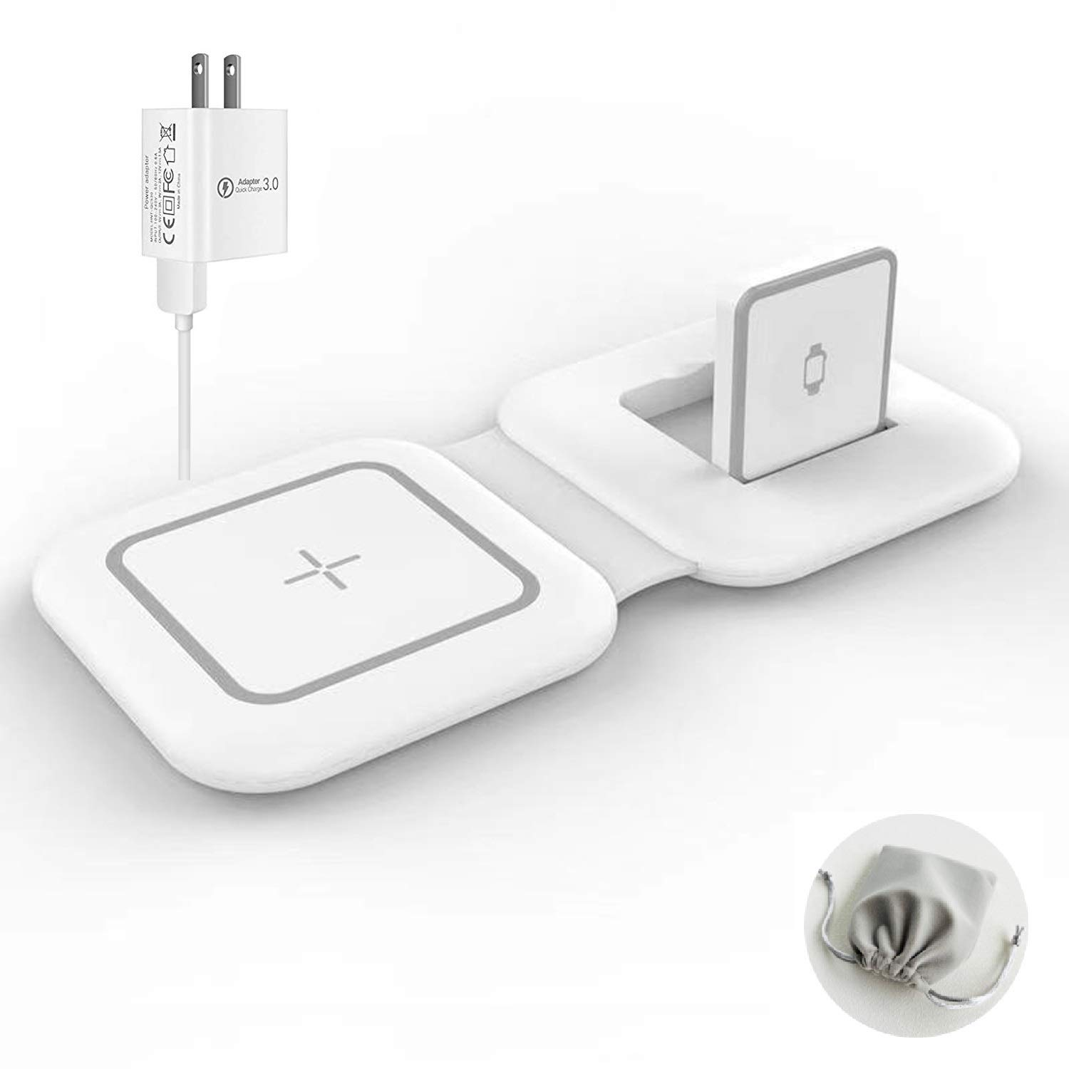 NURMUN 2 in 1 Magnetic Wireless Charger Compatible for iPhone 12/Mini/Pro/Pro max and Air-Pods 2/pro/iWatch【with 18W QC Adapter】 Foldable Fast Charging Pad for iPhone magsaf-e Charger Other QI Phone