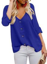 Jug&Po Women's Button Down V Neck Solid Tops Loose Casual Long Sleeve Shirts Blouses(L-Blue,Small)