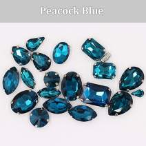 Sew on Rhinestones with Claws, Mixed Shapes Glass Rhinestones for Crafts, Costume, Shoes, Jewelry Making, Rings, Bracelets, Earrings, Necklaces, Belt(20 pcs),Peacock Blue