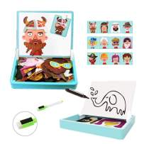 Hereinway DLone Magnet Puzzle Dress Up&Whiteboard Double Sided with Storage,Sketchpad with Storage case Include Bonus Magnetics, Numbers and Other Accessories for Kids,Tollders, Boys Girls