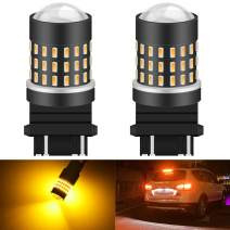 KATUR 3157 3047 3057 3155 3156 Led Light Bulb High Power 3014 54 Chipsets Super Bright 650 Lumens Replace for Turn Signal Back Up Reverse Brake Tail Stop Parking RV Lights,Amber(Pack of 2)