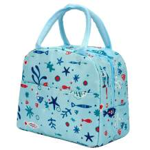 Lunch Bags for Women Insulated Tote Bag Men Meal Perp Box Container Collapsible Durable Fashion Thermal/Cooler Bags for Adult/Kids/Picnic/Work/School (Blue Fish)