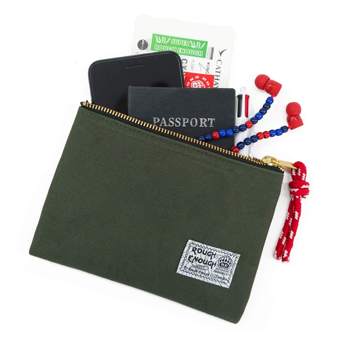 Rough Enough Canvas Travel EDC Pouch Pocket Organizer Bag for Men Women Teen Boy Girl Kids Cell Phone Pen Case Holder with Zipper for School Car Accessories Travel Gear Essential Wallet