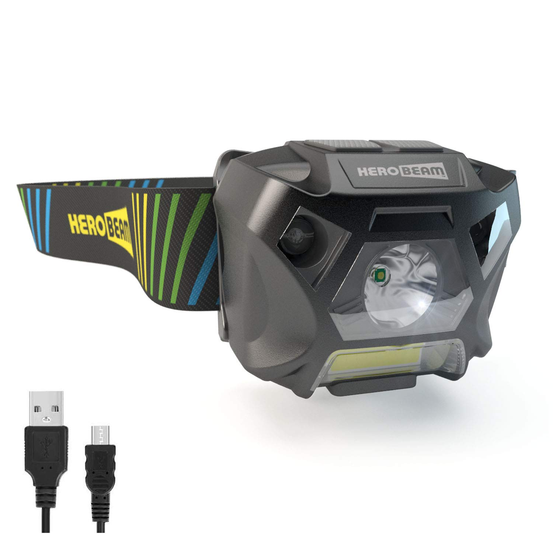 HeroBeam Ultimate Headlamp – USB Rechargeable Headlamp Flashlight for Running, Dog Walking, Biking, Camping, Reading, Homecrafts, Shop or DIY – Hands Free ON/Off Mode - Lightweight and Weatherproof