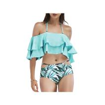 SS Queen Women High Waisted Bandeau Bikinis Ruffle Two Pieces Swimsuits
