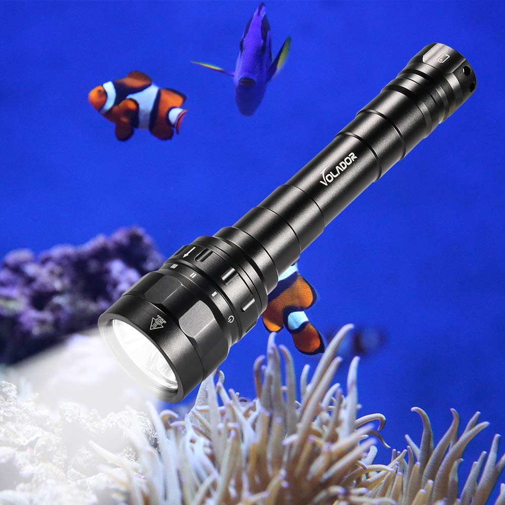Underwater Flashlight, VOLADOR 3 CREE XPL LED 3100lm Professional Rechargeable Diving Light, Waterproof Dive Lamp for Scuba Night Dive with Battery and Charger