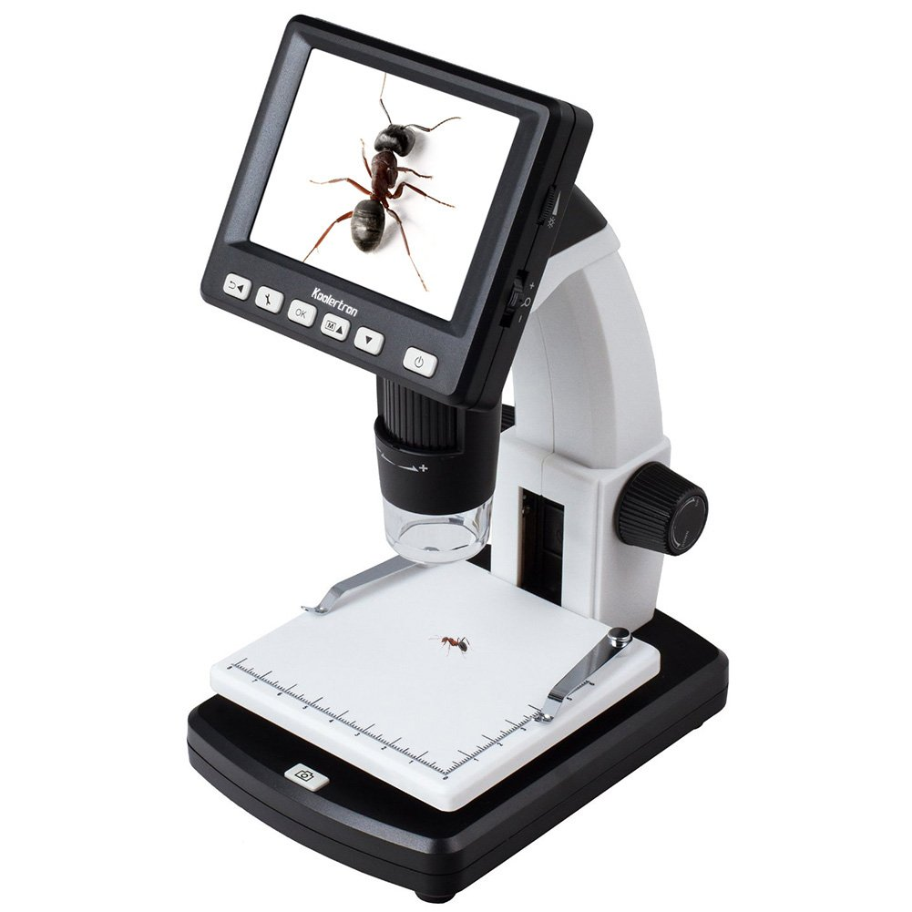 """Koolertron 3.5"""" LCD Digital Microscope with 5MP Image Sensor 1200x Digital Zoom, USB connectable Portable with LCD Display 20-300x Optical Zoom 5Mpix Digital Camera Stand-Alone Measurement"""