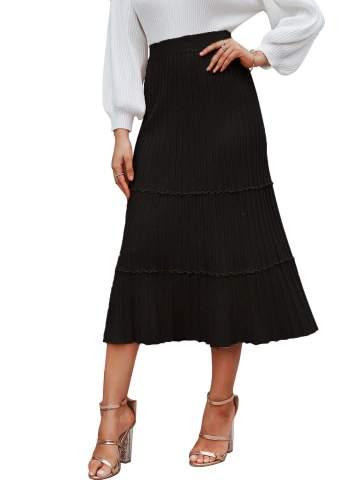 Sollinarry Women's High Waist Knit Layered Ruffle Pleated A-line Midi Flare Skirt