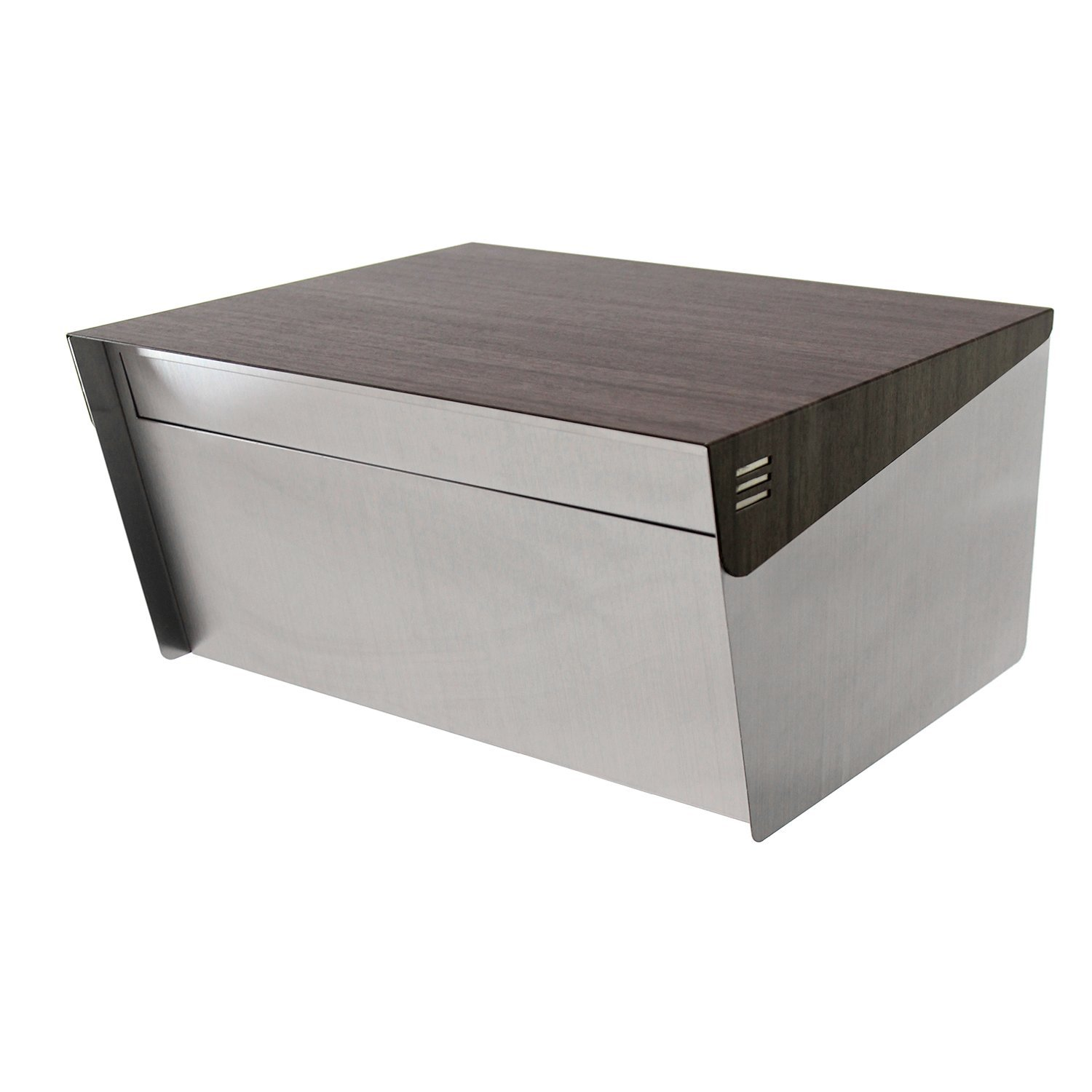 """KATANABOX Wide DR - Stainless Steel Post Mount Modern Design Mailbox with Lock and Key Extra Large Letterbox Rust Proof for Modern Home House Apartment Rural Roadside 12"""" x 15"""" x 8"""" (Ebony Wood)"""