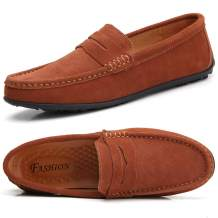 TSIODFO Men's Driving Penny Dress Loafers Suede Leather Driver Moccasins Slip On Shoes