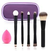 Black Egg Portable Travel Makeup Brush Set Face Eye Blush Powder Angled Kabuki Foundation Concealer Makeup Brushes Kit withBlender Sponge and Brush Cleaner (5 PCS Black).