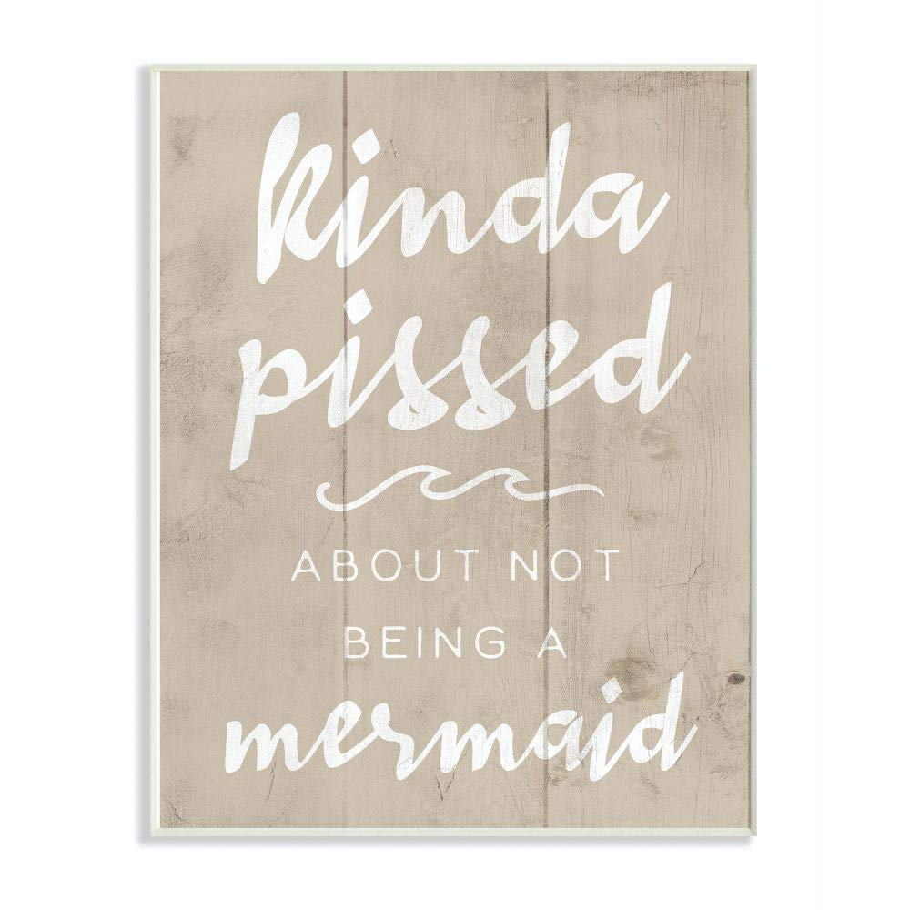 Stupell Industries Mermaid Funny Word Girls Wood Textured Design Wall Plaque, 10 x 15, Multi-Color