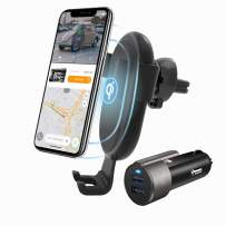 Swiftfinder Smart Wireless Car Charger Holder,Qi Certified 10W Fast Charging Auto-Clamping Car Mount with APP Control Car Finder Adjustable Gravity Air Vent for iPhone and Galaxy