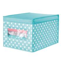 mDesign Soft Stackable Fabric Closet Storage Organizer Holder Box - Clear Window and Lid, for Child/Kids Room, Nursery, Playroom - Polka Dot Pattern - Large - Turquoise Blue with White Dots