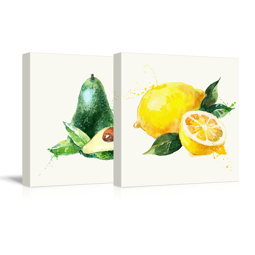 """wall26 - 2 Panel Square Canvas Wall Art - Avocado and Lemon Watercolor 