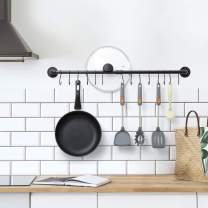 Wall Hanging Pot Rack, Industrial Pipe Pot Rack Wall Mounted, Kitchen Pot Lid Organizer, Hanging Rail Cookware Rack with 14 S Hooks, Black