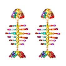 Sparkly Rainbow Fish Drop Statement Earrings KELMALL COLLECTION
