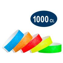 """WristCo Variety Pack 3/4"""" Tyvek Wristbands - Red, Orange, Yellow, Green, Blue - 1000 Pack Paper Wristbands for Events"""