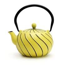 Tea Kettle, TOPTIER Japanese Cast Iron Teapot with Infuser, Stovetop Safe Cast Iron Tea Kettle, Wave Design Cast Iron Teakettle Coated with Enameled Interior for 22 oz (650 ml), Yellow