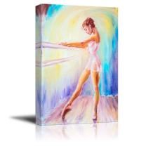 "Canvas Prints Wall Art - Beautiful Young Ballerina/Ballet Dancer in Oil Painting Style | Modern Wall Decor/Home Decor Stretched Gallery Canvas Wrap Giclee Print & Ready to Hang - 24"" x 36"""