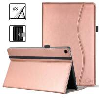 VORI Case for Kindle Fire HD 10 Tablet(9th/7th Generation, 2019/2017 Release), Leather Smart Folio Cover with Hand Strap, Pocket and Auto Wake/Sleep for Kindle Fire 10.1 inch, Rose Gold