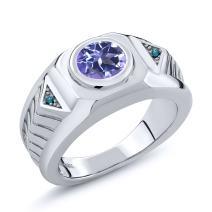 Gem Stone King 2.03 Ct Round Blue Mystic Topaz Blue Diamond 925 Sterling Silver Men's Ring
