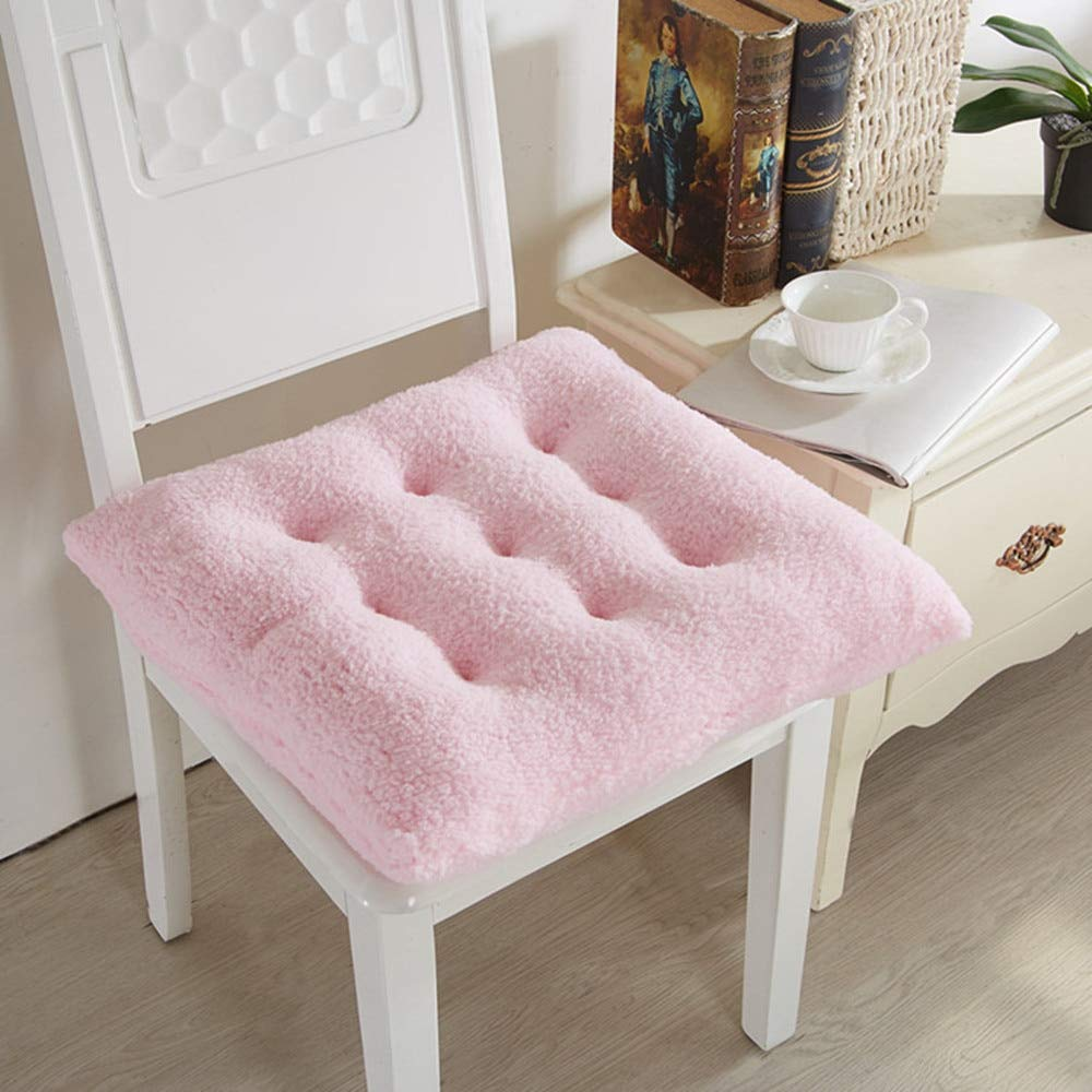 HUIDUO Comfort Seat Cushion Soft Chair Pads Warm Chair Cushion 16x16x4 inches Pink Lambs Wool Fluffy for Adults and Kids for Kitchen Dining Living Room Office Chair Set of 4