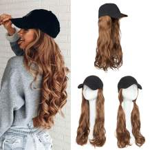 "Baseball Cap With Hair Hat Hair Extension Curly Long Wavy Corn Wave Hairpiece With Baseball Hat Attached Adjustable Cap Synthetic Yaki Hair for girls and women (16""-Curly, Light Brown)"