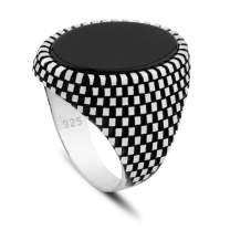 Chicotta Men's 925 Sterling Silver Ring with Black Onyx Stone