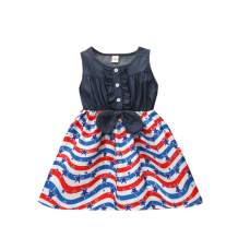 KONIGHT Independence Day Toddler Baby Girls Outfit Stars and Stripes Dress Sleeveless Skirt Clothes July 4th