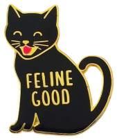 "Tiny Bee Cards -""Feline Good"" Black Cat Enamel Pin"