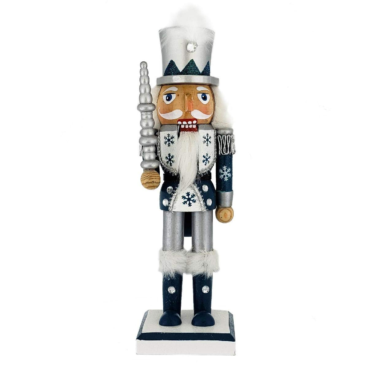 Nutcracker Ballet Gifts Christmas Holiday Wooden Snow Fantasy Nutcracker Figure Soldier- Blue White and Silver with Hand Painted Snowflake Uniform, Silver Sword, Top Hat with Feather, Large, 10 Inch