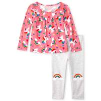 The Children's Place Baby Girls Graphic Long Sleeve Top and Legging Set